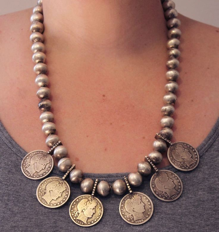 Antique Navajo American Indian Old Pawn Silver Beads Half Dollar Coin Necklace