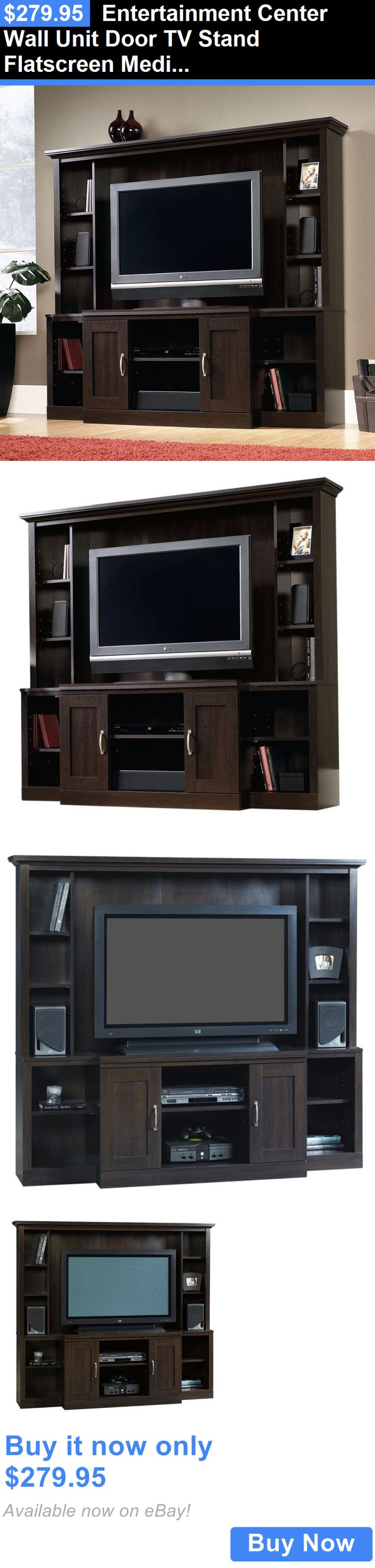 Entertainment Units TV Stands: Entertainment Center Wall Unit Door Tv Stand Flatscreen Media Console Cabinet BUY IT NOW ONLY: $279.95