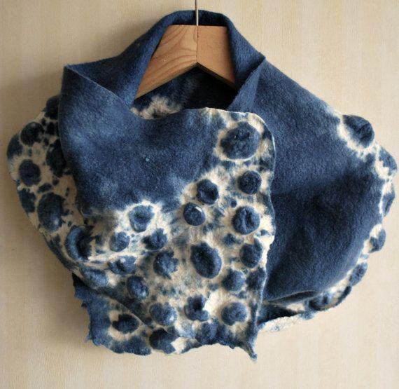 Handmade nuno felted scarf free shipping  Sea by YulinFelt on Etsy