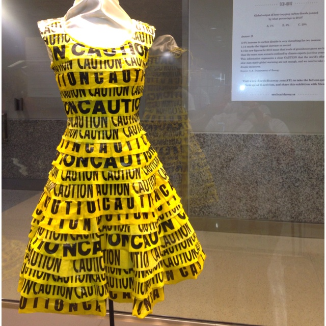 "recycled ""caution"" dress Kinda like. want to do it with upcycled shower curtains into a raincoat"