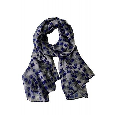 Elephant Parade scarf by Printed Village: Fashion Scarves, Gray Scarfs, Blue Scarves, Elephants Scarfs, Prints Village, Elephants Parade, Elephants Prints, Parade Scarfs, Over Elephants