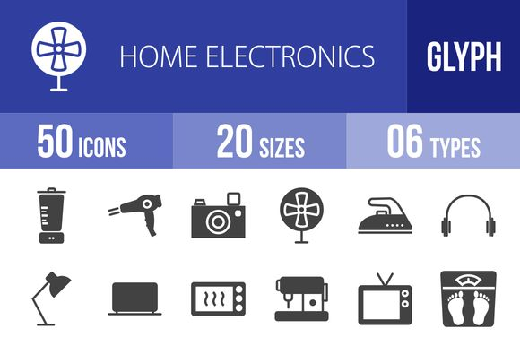 50 Home Electronics Glyph Icons by IconBunny on Creative Market