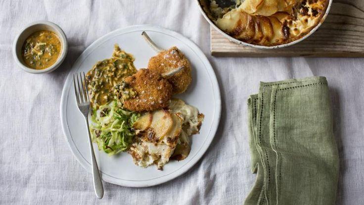 Mutton chops with potato and turnip gratin