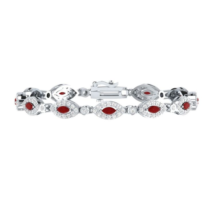 "4.10 Ct Red Ruby W/ White Sapphire Sterling Silver Tennis Bracelet Jewelry 7"" #braceletrealgold #Tennis"