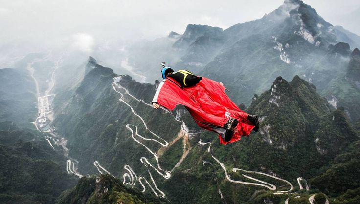 Un saltador, en la provincia de Hunan (China).
