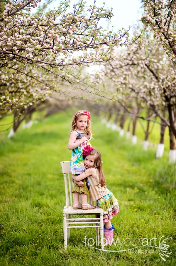 little girls in orchard...wish I had a location like this!!!