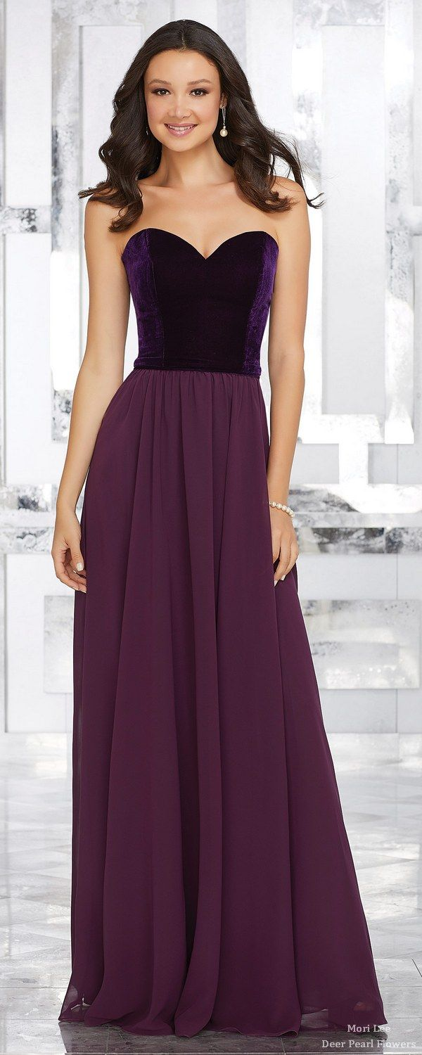 Stretch Velvet and Chiffon Bridesmaids Dress with Sweetheart Neckline | Deer Pearl Flowers