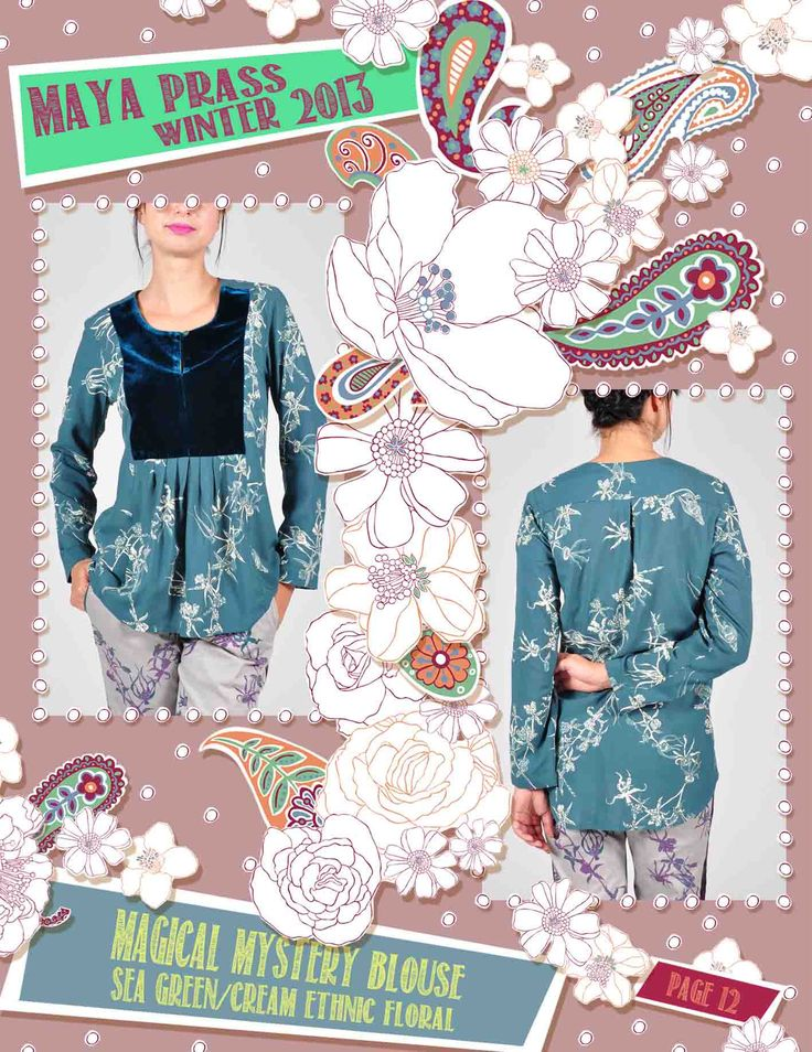 Magical-Mystery blouse sea-green Ethnic Floral