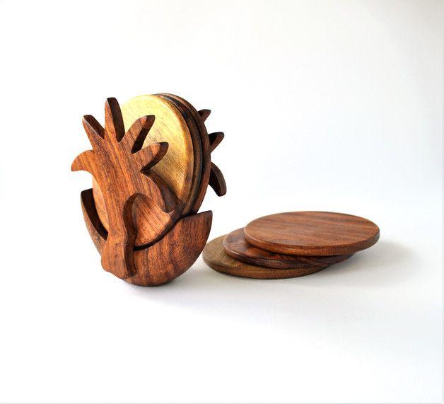 Küche & Kochen - Hölzerne Untersetzer-Set, Palme - ein Designerstück von Omar-Handmade bei DaWanda