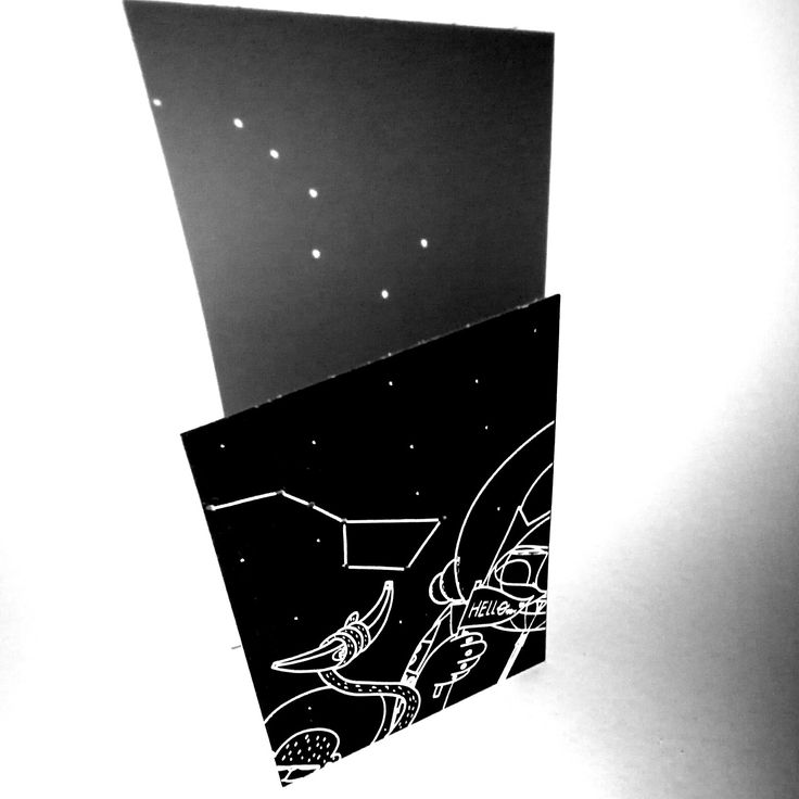 Boys toys creatures /Space selfie series, day 2 Little bear. Postcards made real by Szili Letterpress