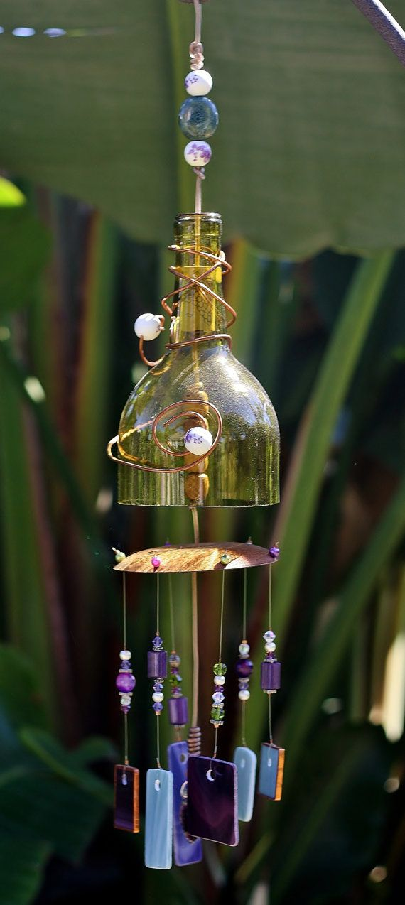 """Unique Whimsical Wine Bottle Wind Chime """"Violet"""" is made from Stained Glass, Gold Bottle, Up-cycled Copper Piece & Beads.  Indoor/Outdoor"""