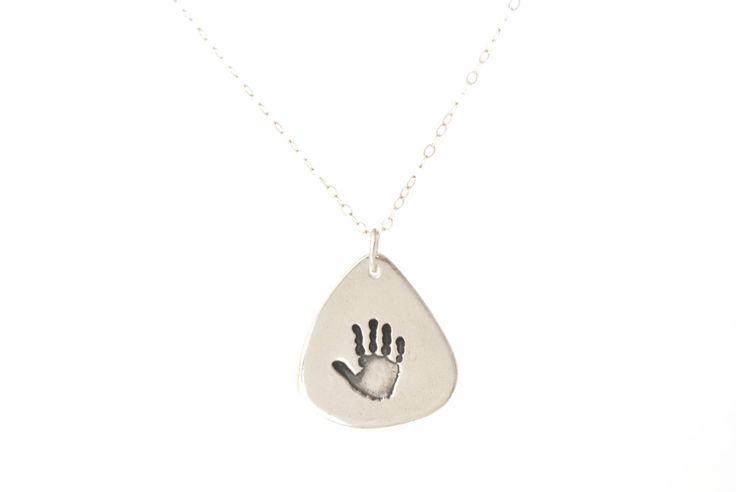 Handprint Guitar Pick Pendant, Handprint Guitar Pick Keepsake Necklace, Pendant for Men, Guitar Pick Necklace for Men, Fathers Day Gift by SilverSculptor on Etsy