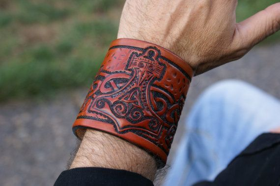 Leather Wristband Celtic Thors HammerLeather by sevenannine
