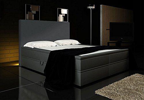 Boxspringbett Grau 180x200 inkl. 2 Bettkasten Hotelbett Bett LED Polsterbett Rio Lift -