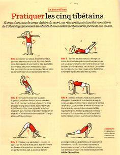 Pour les paresseuses comme moi ;) , sachez que pratiqué chaque matin ( à éviter le soir car cela pourrait empêcher certaines de dormir tant cet exercice redonne de l'énergie) cet enchainement ancestral provenant des hauts plateaux Hymalayens, vous permettra...