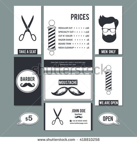 Hair salon barber shop vintage sign and services prices design business cards…