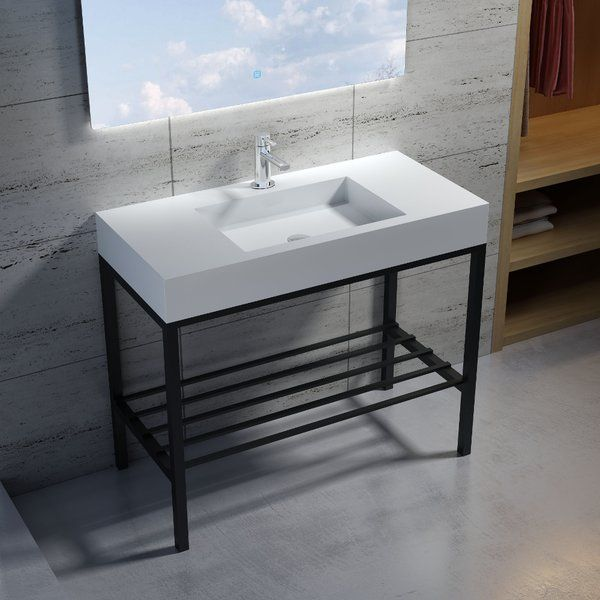Featuring A High Quality Free Standing Black Stainless Steel Metal Frame With Basin That Is Made Out Of Polystone Stone Re With Images Sink Bathroom Sink Elegant Bathroom