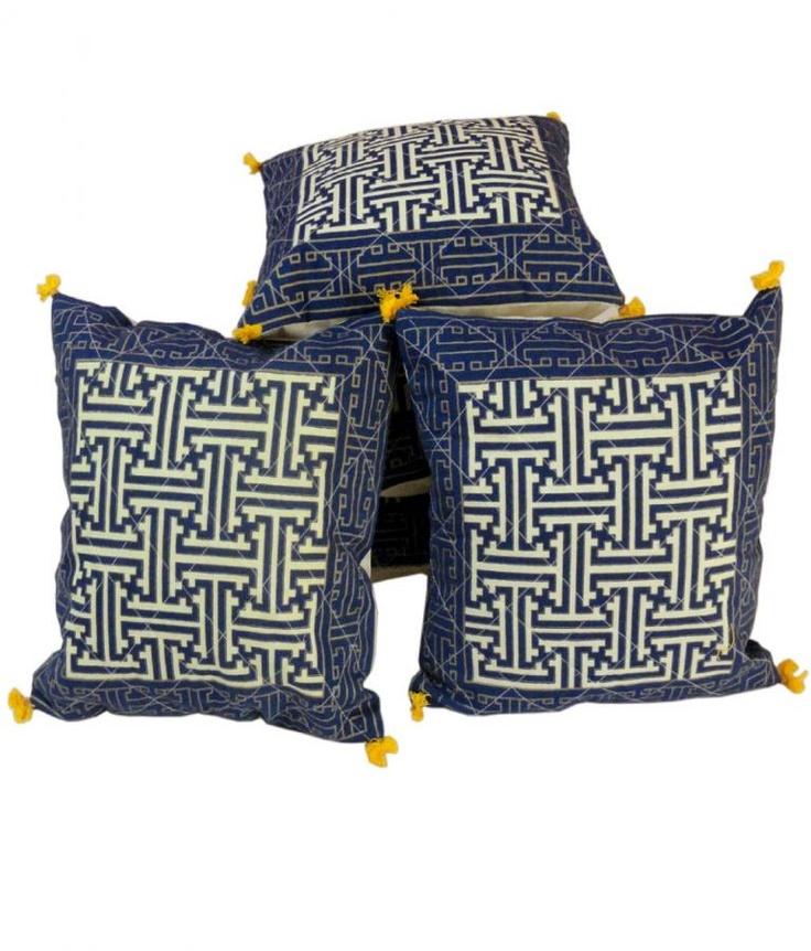 Cushion Covers  Jaipuri Handblock Gold Print Cushion Cover Set  Offer Price Rs.779/-