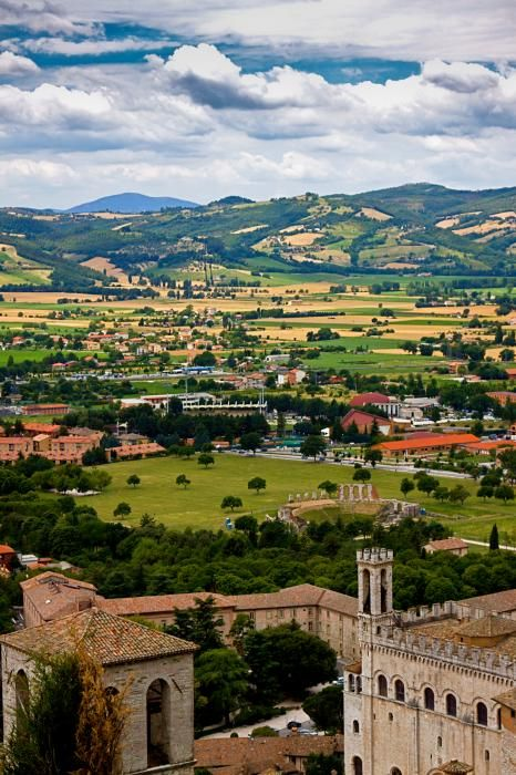 View from Gubbio of The Umbria Countryside, province of Perugia , Umbria region, Italy .