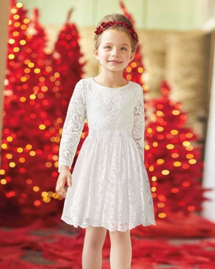 Girls Lace Angel Dress - exclusively ours - Heavenly soft, easy to wear, and sweet as can be. What more could a girl wish for? We've taken great care with our dress, giving it a scalloped hem, a gently gathered waist and attached velvet ribbon sash with back bow.