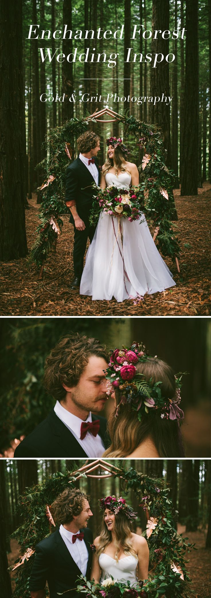 Redwood forest bohemian wedding inspiration with floral copper arch, flower crown and wild, organic flowers