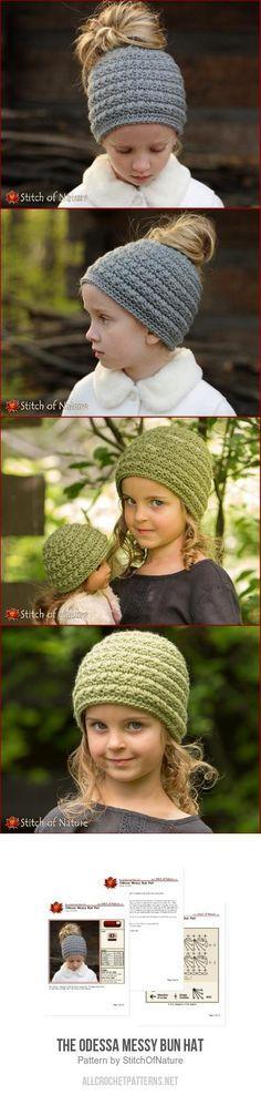 The Odessa Messy Bun Hat crochet pattern