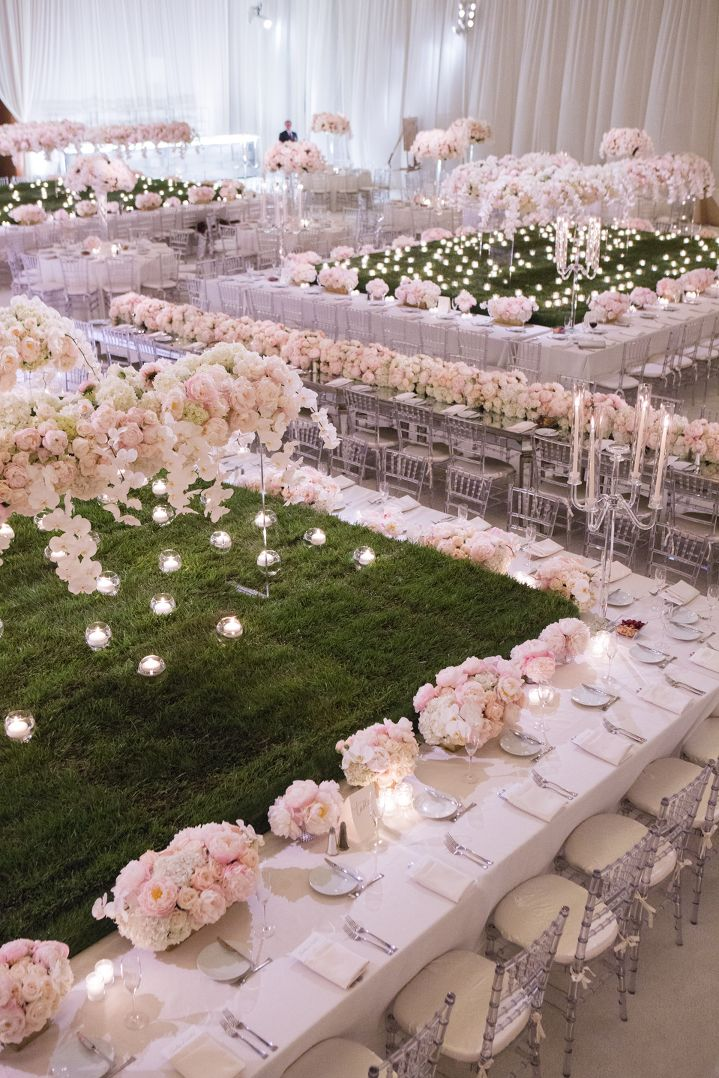 white and pink glam wedding reception // oceanfront wedding at Terranea Resort by Michelle Kim Photography
