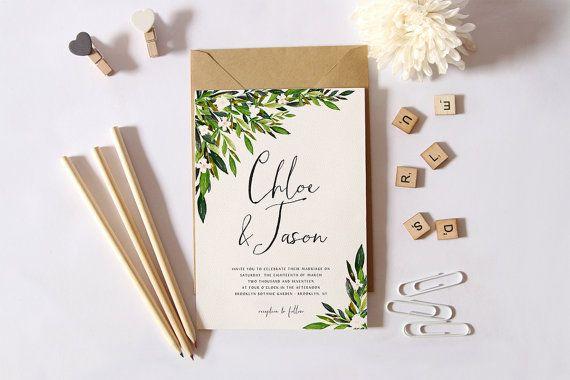 Invito a nozze stampabile Set, sposa semplice invito, invito di nozze giardino…