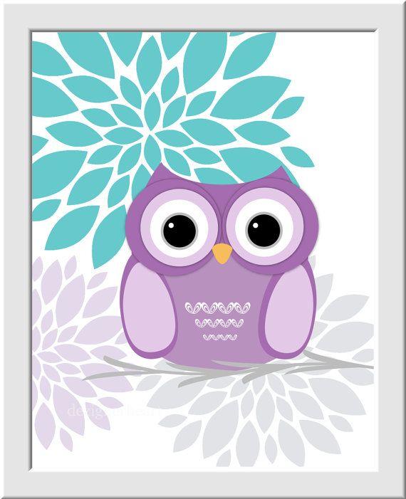Baby Girl Nursery Wall Art Purple Aqua Teal Lavender Gray