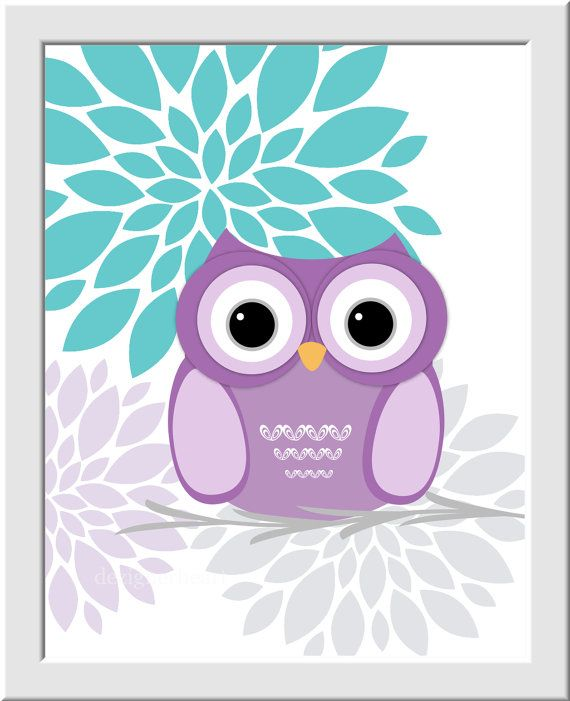 Baby girl nursery wall art purple aqua teal lavender gray baby owl nursery decor girls room - Girl owl decor ...