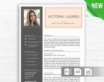 2 Page Modern Resume Template MS Word with Photo, Cover Letter Reference Page Letterhead, US Letter A4, Instant Digital Download CV Template