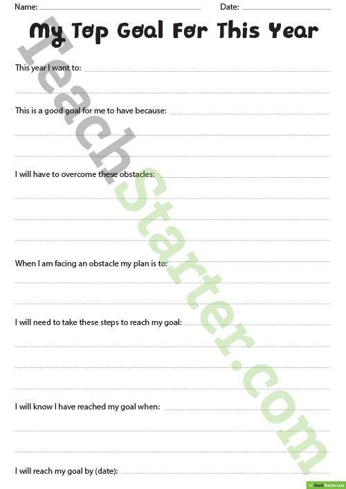 Teaching Resource: An individual goal setting worksheet.