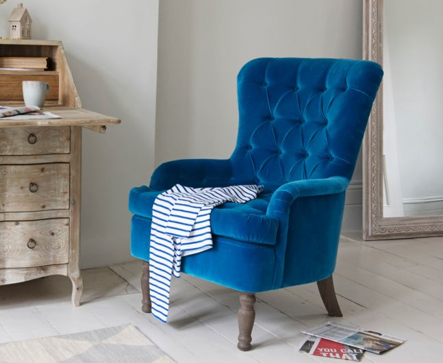 Our Hound Dog occasional chair has a chesterfield style back giving it an air of faded grandeur. It also has the comfiest cushions we have ever tested.