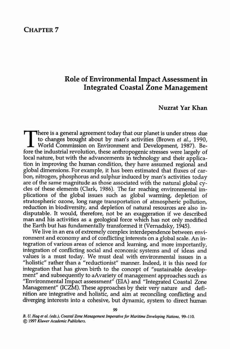 Role of Environmental Impact Assessment in Integrated Coastal Zone Management - Springer