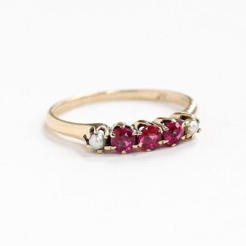 Antique Edwardian 10k Rosy Yellow Gold Created Ruby & Seed Pearl Ring - Vintage 1910s Size 7 1/4 Red Pink Stone July Birthstone Fine Jewelry