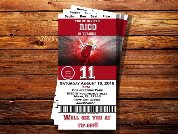 Check out this item in my Etsy shop https://www.etsy.com/listing/291407359/miami-heat-ticket-birthday-party-invite