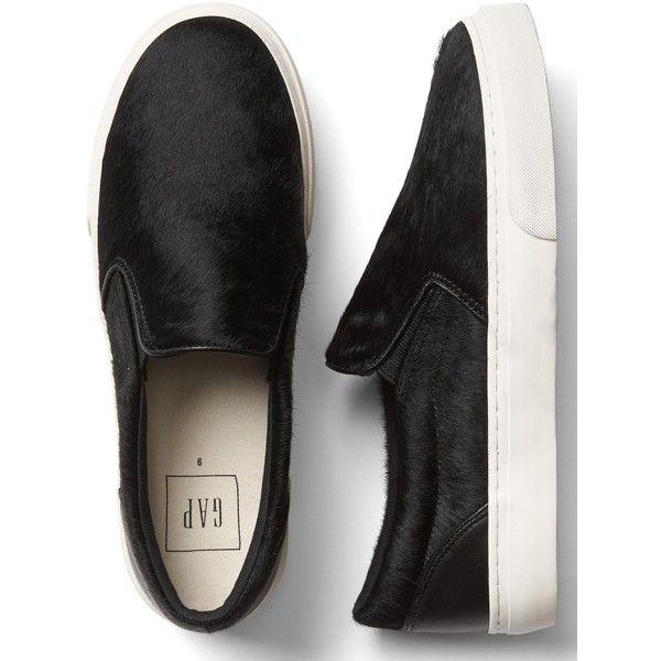 Calf hair slip-on sneakers ($49) ❤ liked on Polyvore featuring shoes, sneakers, slip on trainers, slip-on sneakers, pull-on sneakers, slip-on shoes and pony hair sneakers