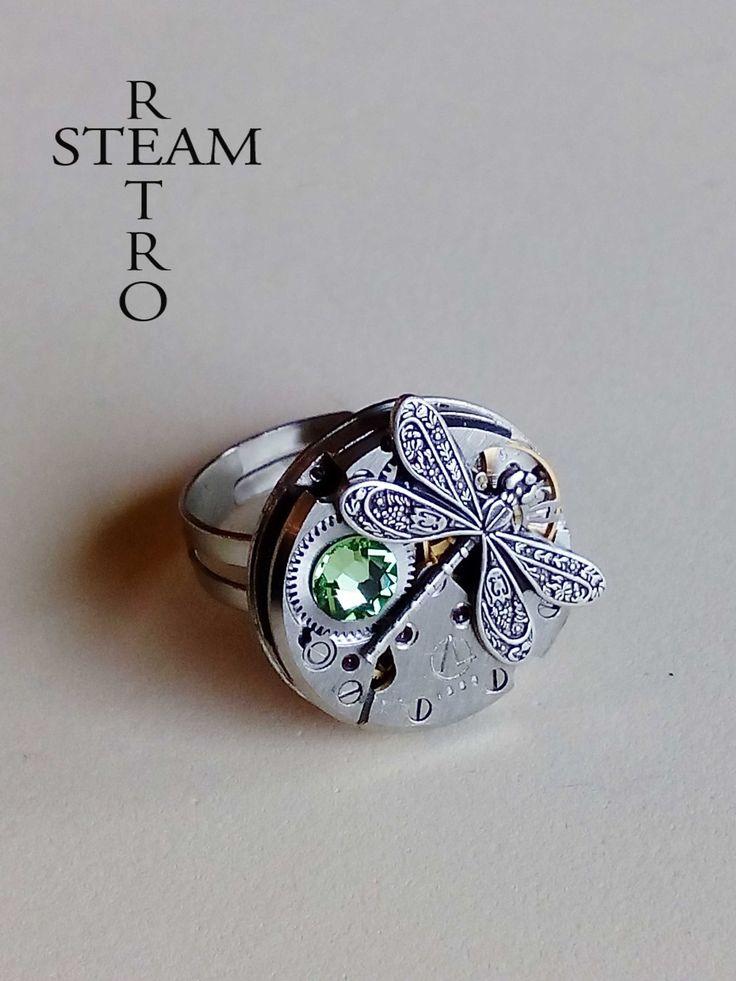 L'anneau libellule steampunk - anneau Dragonfly - Firefly anneau Steampunk anneau vert - bague réglable - Suivre ring : Bague par steamretro