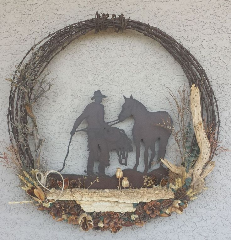 Rustic Barbed Wire Cowboy Horse Western Wreath #WESTERN #Country