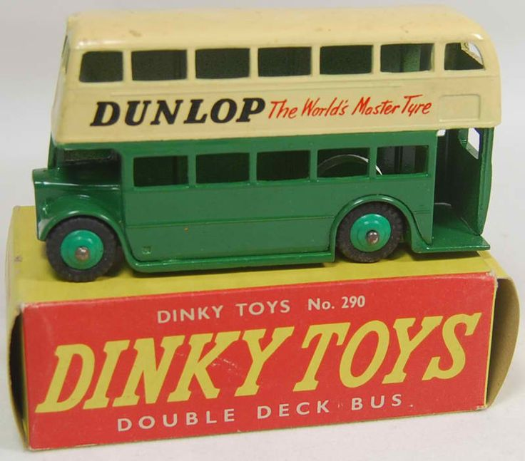 Vintage Dinky Toys diecast model London Double Decker Bus with Dunlop Ads