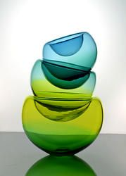 Lilypad Bowl Stack by Delish Glass. American Made. See the designer's work at the 2015 American Made Show, Washington DC. January 16-19, 2015. americanmadeshow.com #glass, #bowl, #americanmade