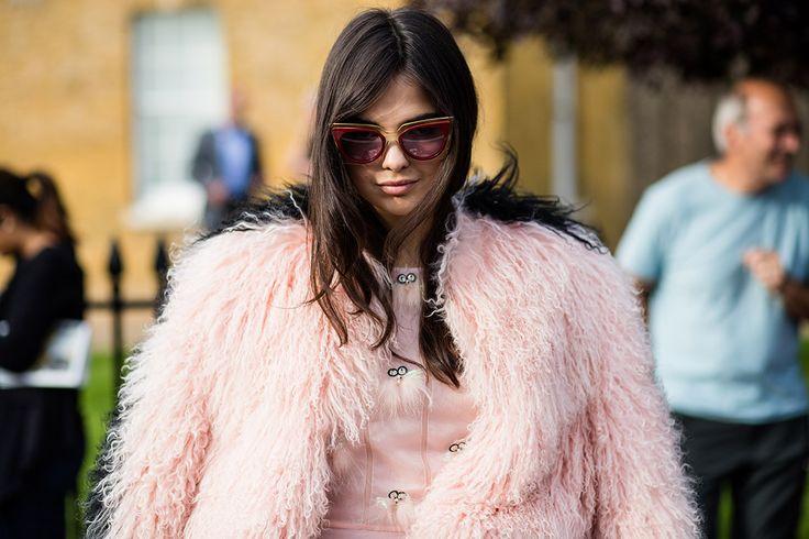 SS16 streetstyle details pale pink cameo pink fur dress long brown hair cutipie