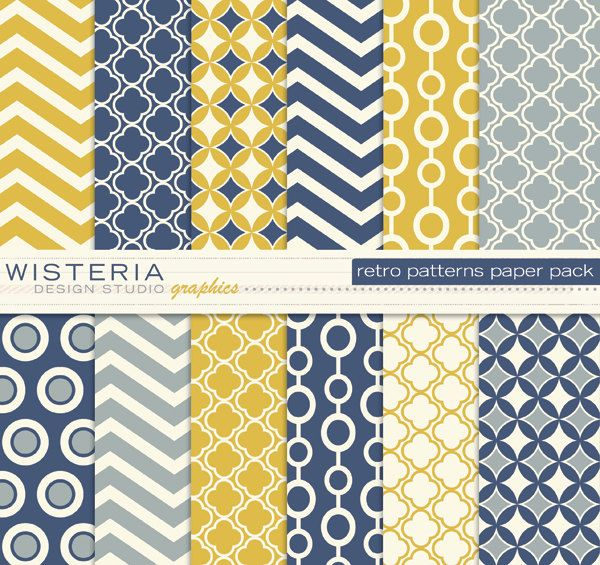 Retro Patterns Paper Pack - Blue Yellow Ivory Grey - For Personal  Commercial Use - Digital Designs. $5.00, via Etsy.