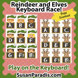 Reindeer and Elves Keyboard Race | Christmas Piano Game  | Piano Teaching Resources | Susan Paradis.com | Piano Lesson Games | Teaching Piano