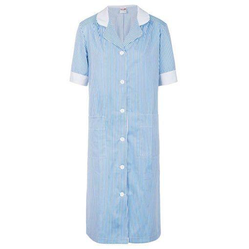 Bata rayada en azul con contraste blanco. Tiene dos bolsillos generosos de palastrón y las mangas anchas. Contraste blanco en el cuello y las mangas.  #bata #rayas #azul #blanca #larga #uniforme #trabajo
