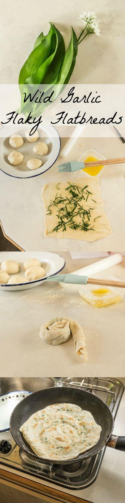 Wild Garlic Flaky Flatbreads // no yeast // quick // foraging // wild food // Vagabond Baker