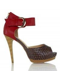 Barcelona - Women's red brown tan crocodile wood-grain platform sandal high heels $149.00 #shoeenvy #shoes #fashion #instalove #pretty #ethical #glamorous