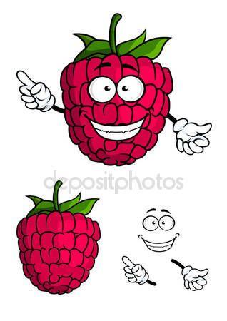 Aranyos boldog mosolygó rajzfilm málna gyümölcs — Stock Illusztráció #64439997