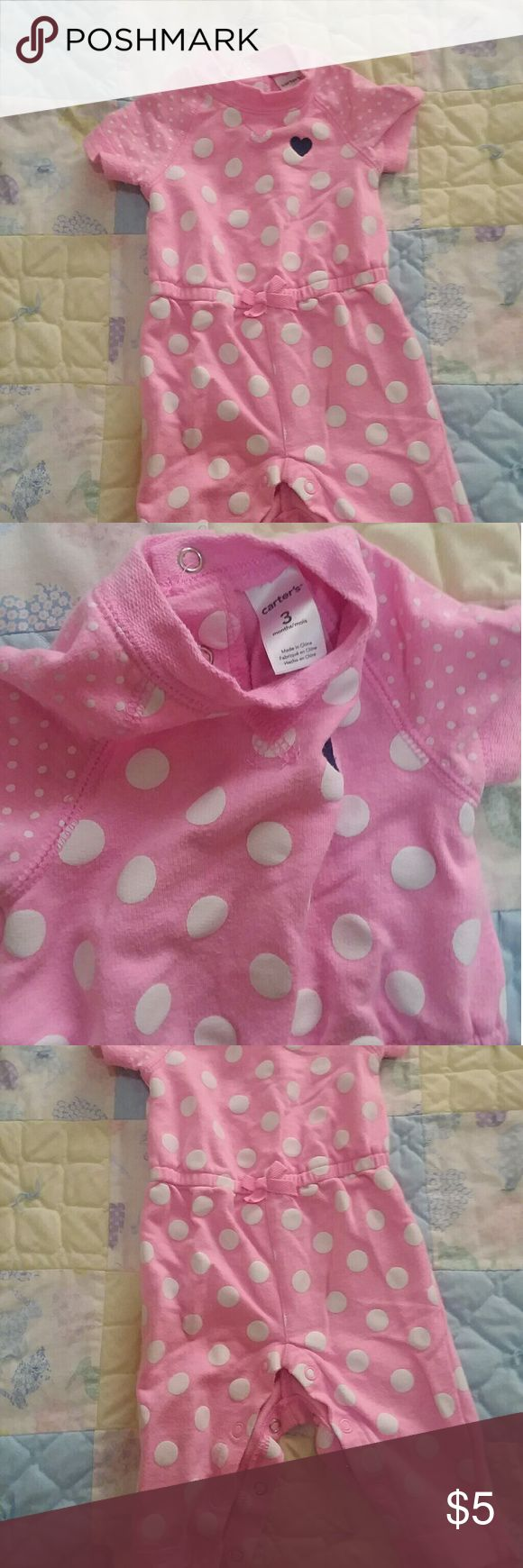 Size 3 months pink one piece Really cute! Pink with polka dots one piece Carter's One Pieces Bodysuits