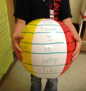 """Beach Ball Sight Words - could add a couple of wilds on here such as """"jump like a frog"""" or """"dance for 10 seconds"""" to make it even more fun!"""